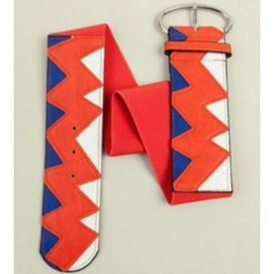 Accessories - Blue, Orange & White Zig-Zag Waist Belt